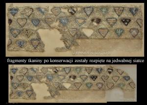 1 Tkanina herbowa zLądu, 2 fragmenty pokonserwacji, Fot.J. Nowiński