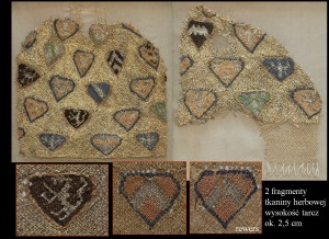 2 fragmenty Tkaniny herbowej zLądu, fot.J. Nowiński